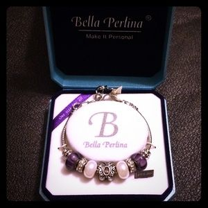 🎁📿Bella Perlina purple butterfly charm bracelet